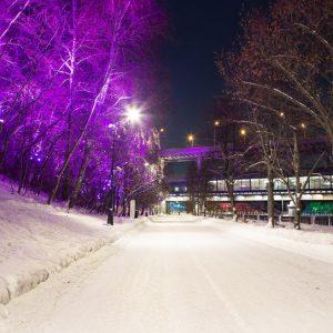 Christmas (New Year holidays) decoration in Moscow (at night), Russia-- Luzhnetskaya Bridge (Metro Bridge).